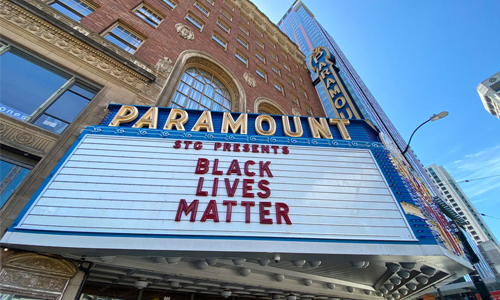 Black Lives Matter sign outside a Paramount theater
