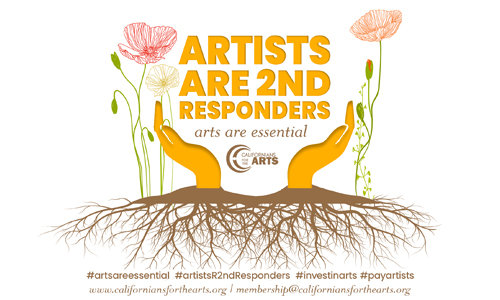 Californians for the Arts Artists are Second Responders Logo