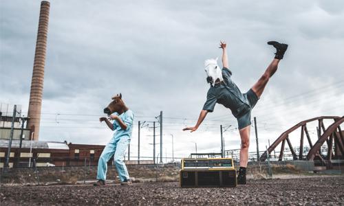 Denver dancers with horse masks