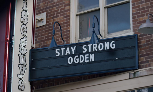 Stay Strong Ogden sign outside theater