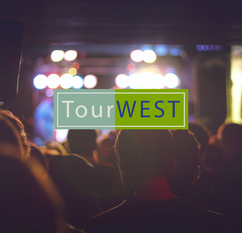 TourWest Logo with people in the background