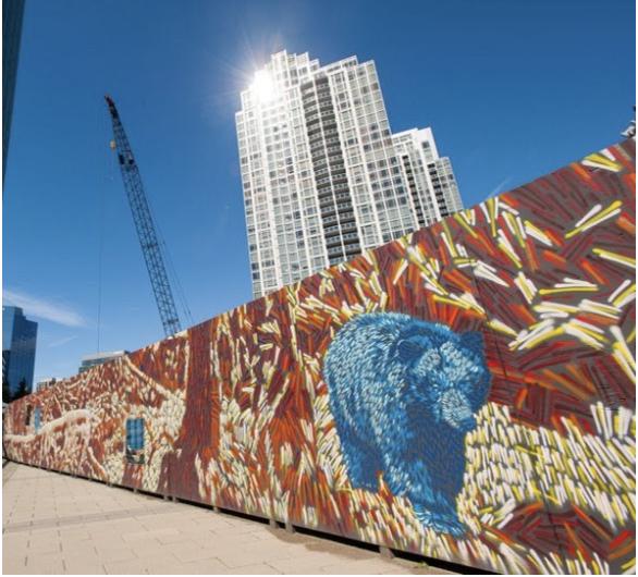 Denver mural of a blue bear